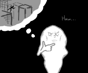 ghost thinking of child jumping off building