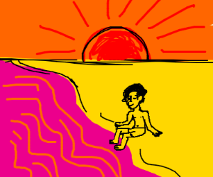 Dude by pink ocean with orange sky