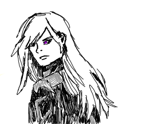Anime Boy With Long White Hair And Purple Eye