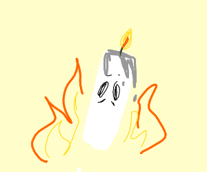 A candle with eyes in the fire