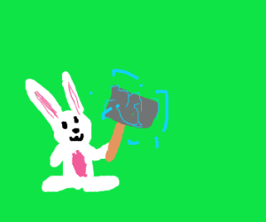 OH NO! A bunny has got Thor's hammer