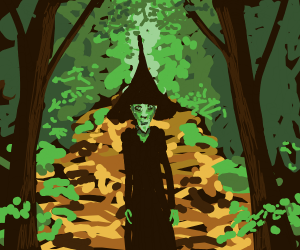 Green Witch on a Forest Trail