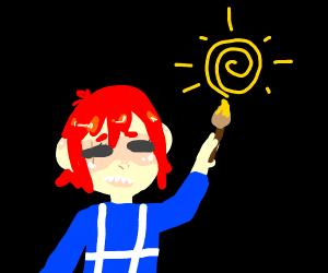 Kawaii kid paints the sun