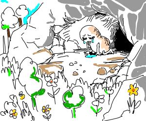 sad peanut in cave