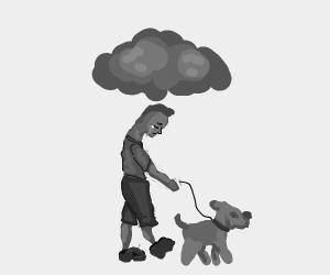 rain cloud follows sad boy walking dog