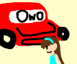 OwO car about to hit lady