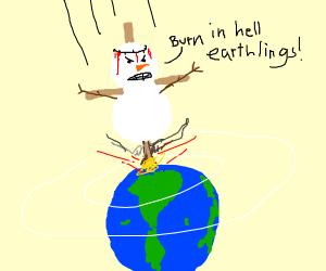 Evil snowman Jesus descends to earth