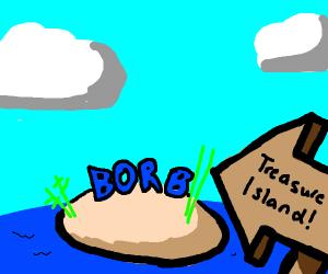 blue borb on a treasure island