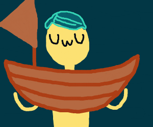 Guy with blue hair has a BOAT. OWO