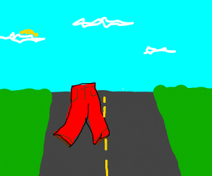 Pants crossing the Road