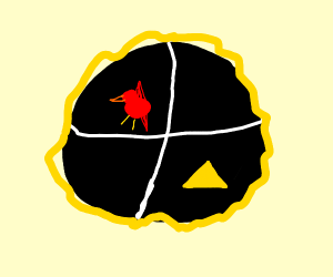 Shield with a red bird and yellow triangle