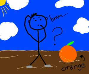 Stickman wonders what an orange is