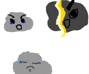cloud parents fighting and making child sad