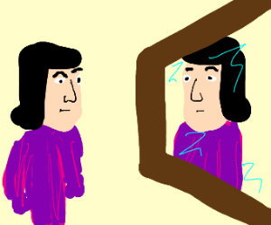 Lord Faarquad (spelling?) Looking into mirror
