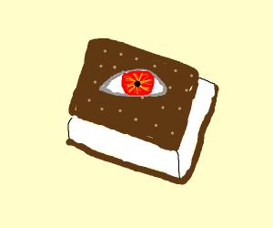ice cream sandwich with a single evil eye