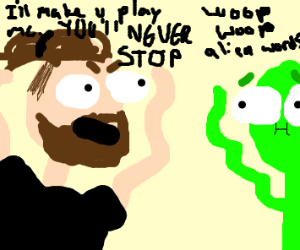 jacksepticeye threatening an alien