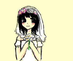 manga flower girly bride