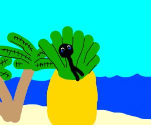 man crying on big pineapple