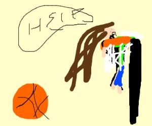 Girl stuck in basketball hoop