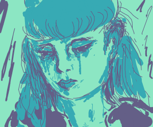 blue faced sad girl