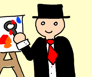 man in a hat painting with a magnifying glass