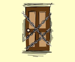 Locked up chained door