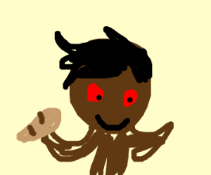 Creepy red eyed dark skinned man with bread s
