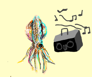 Squid listening to music