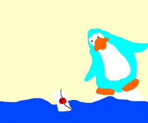 Penguin finds Envelope in Water