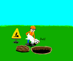 A man digging with a dog.