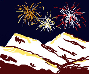 Mountain and fireworks