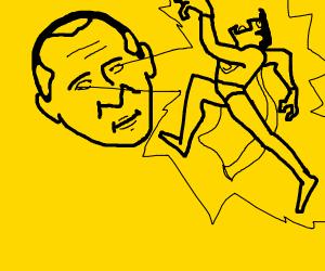 Putinman attacks Superman with laser eyes
