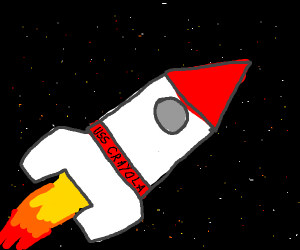 Crayola rocket in space