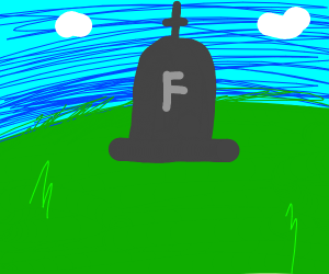 headstone with f on it