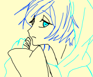 cute blue haired anime babe