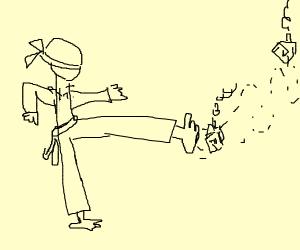 Ninja kicking down a tiny house