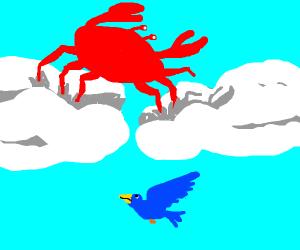 Crab walking on clouds