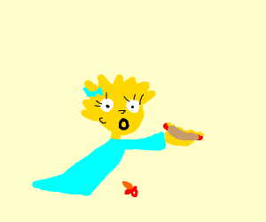 Maggie Simpson eats a hot dog
