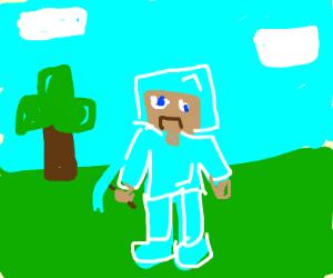 Steve wearing full diamond amour and shovel