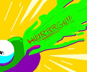 Kermit threw up