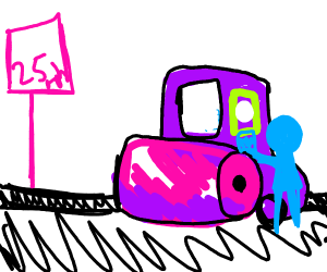 steamroller driver gets a speeding ticket
