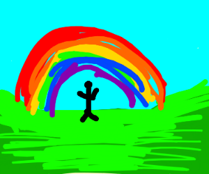 Hippy dancing beside a rainbow