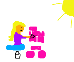 A woman laying bricks in the sun