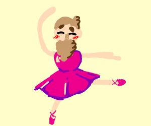 kawaii bearded man in a beautiful pink dress