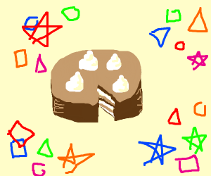 chocolate cake with shapes flying around it
