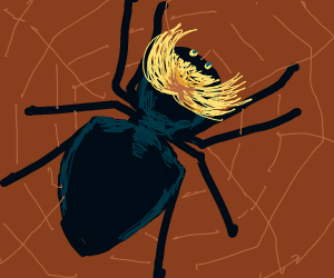 Spider with blonde hair