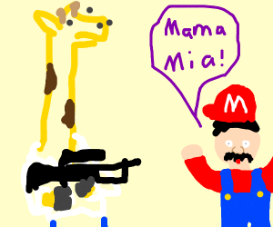 guy with long neck points gun at Mario