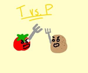 Tomato vs. Potato (weapon is fork)