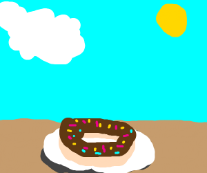 A donut chilling outside