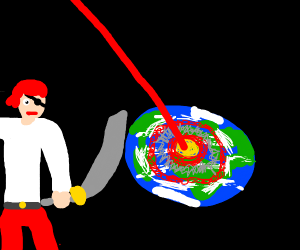 Pirate man watches as the earth is destroyed